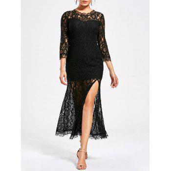 See Thru High Split Lace Party Dress