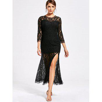 See Thru High Split Lace Party Dress - Noir 2XL