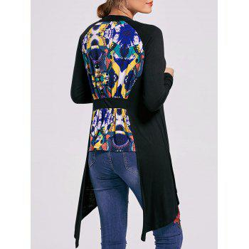 Open Front High Low Printed Cardigan - BLACK L