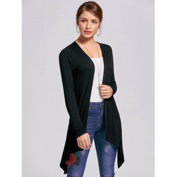 Open Front High Low Printed Cardigan - L L