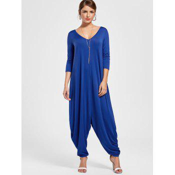 V Neck Draped Cut Out Baggy Jumpsuit - BLUE BLUE