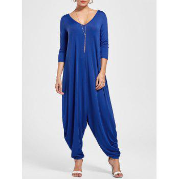 V Neck Draped Cut Out Baggy Jumpsuit