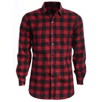 Checked Shirt For Man - RED AND BLACK RED/BLACK