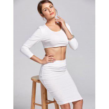 Stylish Women's Scoop Neck Long Sleeve Solid Color Crop Top and Skirt Suit - S S