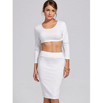 Stylish Women's Scoop Neck Long Sleeve Solid Color Crop Top and Skirt Suit - XL XL