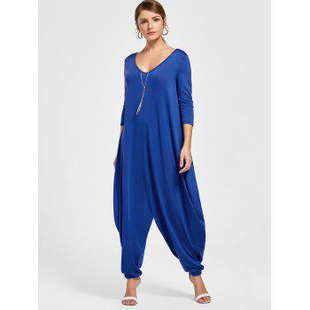 V Neck Drape Cut Out Baggy Jumpsuit - Bleu M
