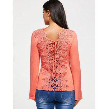 Long Sleeve T-shirt with Hollow Out Lace - PEACH PINK 2XL