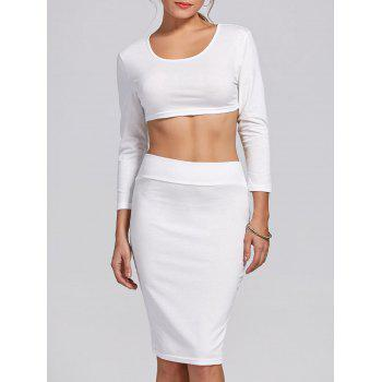 Stylish Women's Scoop Neck Long Sleeve Solid Color Crop Top and Skirt Suit - WHITE WHITE