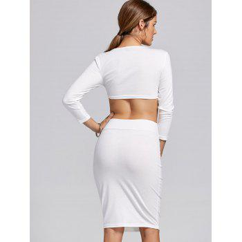 Stylish Women's Scoop Neck Long Sleeve Solid Color Crop Top and Skirt Suit - WHITE S