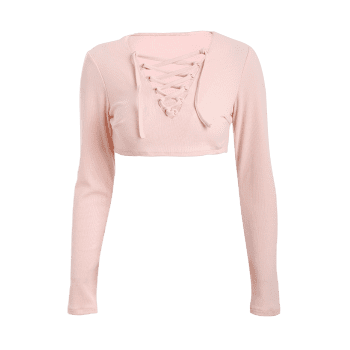 Long Sleeve Lace Up Cropped Top - PINK M