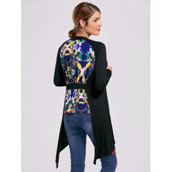 Open Front High Low Printed Cardigan - BLACK BLACK