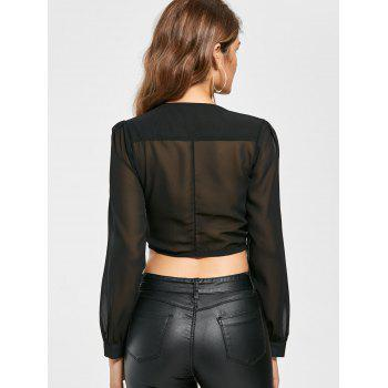 Knotted Chiffon Cropped Long Sleeve Top - BLACK BLACK