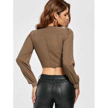 Knotted Chiffon Cropped Long Sleeve Top - KHAKI KHAKI