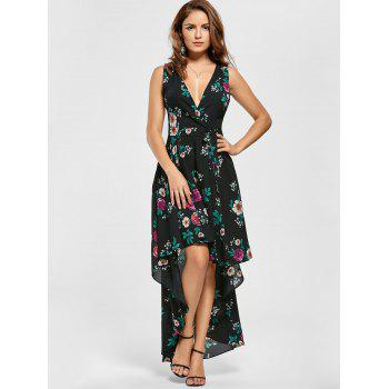 Floral V Neck High Low Dress - BLACK M