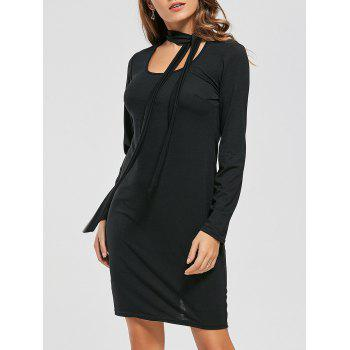 Long Sleeve Fitted Tied Dress - BLACK BLACK