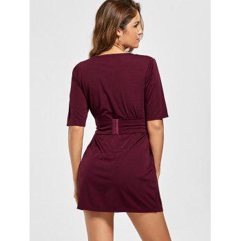 Mini Fitted Dress with Belt - WINE RED WINE RED