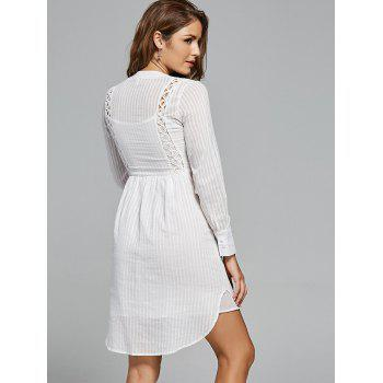 Lace Panel High Low Long Sleeve Dress - WHITE WHITE