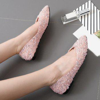 Pointed Toe Rhinestones Flat Shoes - PINK PINK