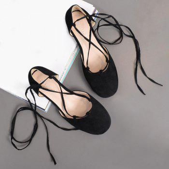 Round Toe Tie Up Flat Shoes - BLACK BLACK
