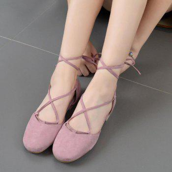 Round Toe Tie Up Flat Shoes - PINK PINK
