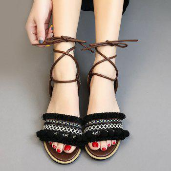 Flat Fringe Pom Pom Lace-up Sandals - BLACK BLACK