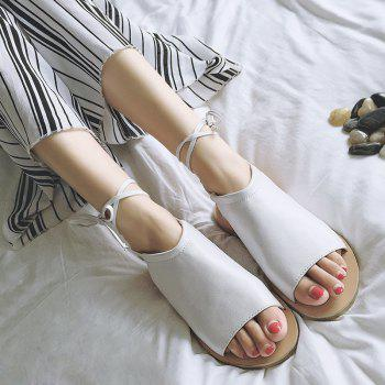 Open Toe Flat Lace Up Sandals - WHITE WHITE