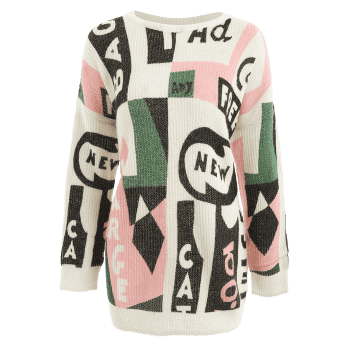 Dropped Shoulder Graphic Sweater - COLORMIX XS