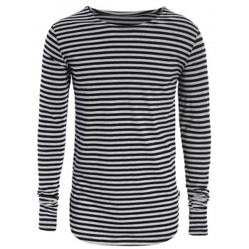 Long Sleeve Striped Mens Top - BLACK AND GREY BLACK/GREY