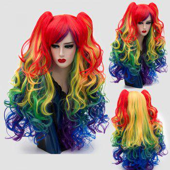 Long Side Bang Colormix Fluffy Curly Synthetic Wig With Two Bunches - COLORFUL COLORFUL