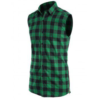 Checked Twill Sleeveless Shirt - GREEN L