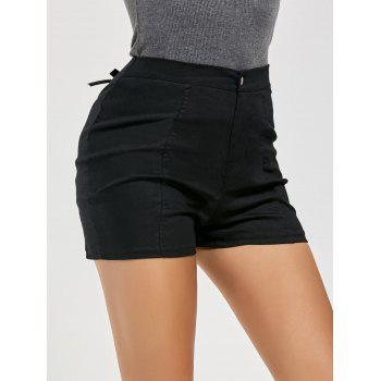 Lace-up High Waisted Shorts - BLACK S