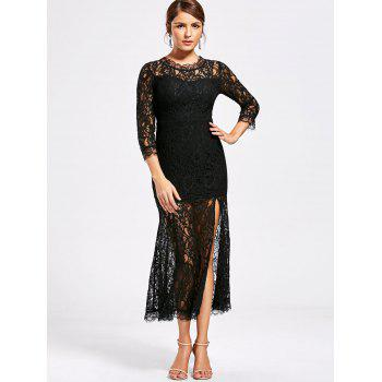 See Thru High Split Lace Party Dress - BLACK XL