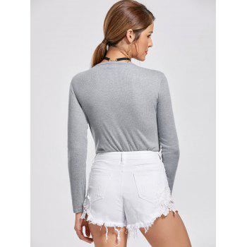 Attractive Solid Color Alloy Lace-Up Long Sleeve Knitted Bodysuit For Women - GRAY M