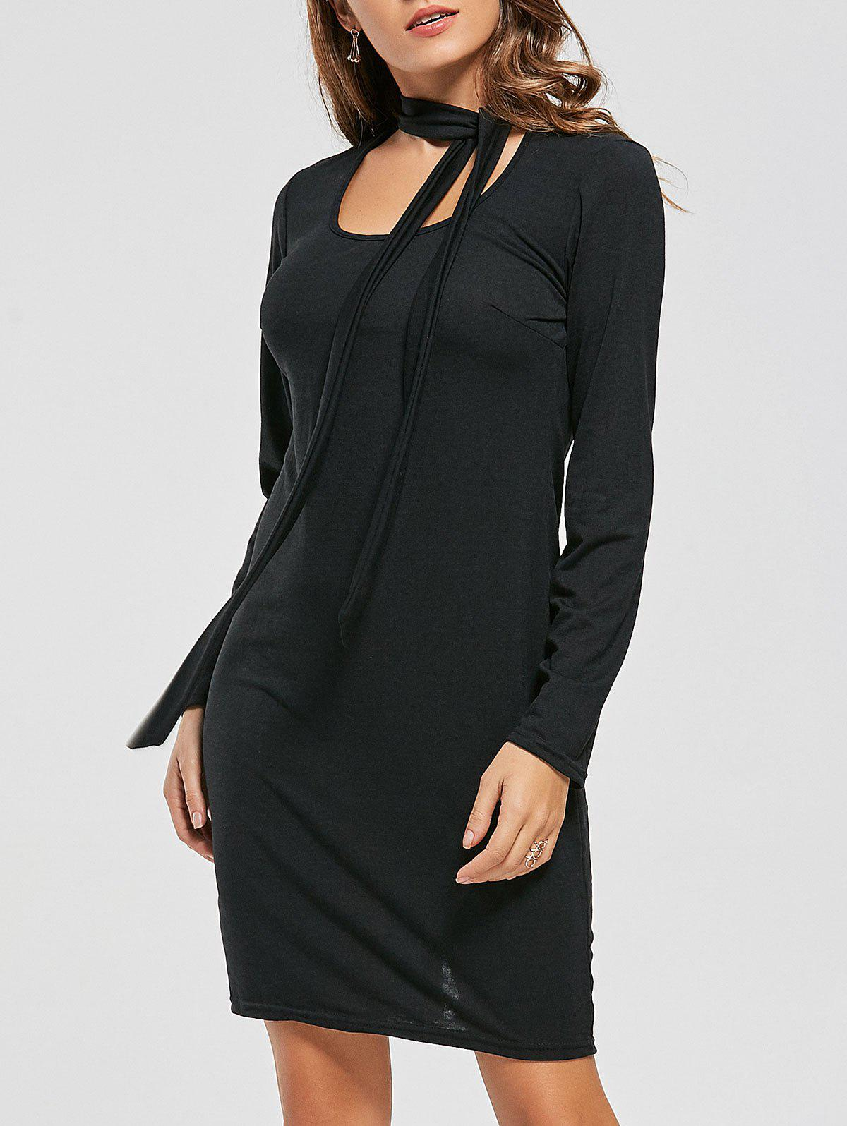 Long Sleeve Fitted Tied Dress - BLACK S