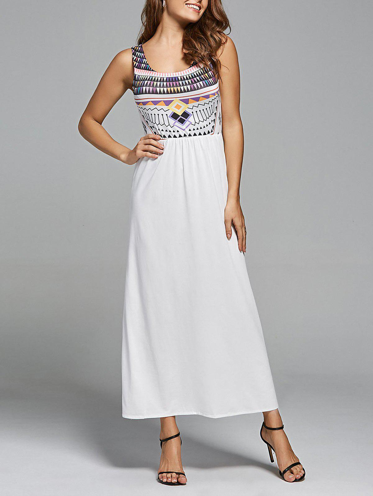 Bohemian Geometric Print Maxi Long Dress - WHITE M