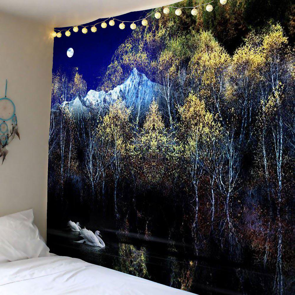 Swan Moon Tree Wall Art Tapestry moon flac jeans