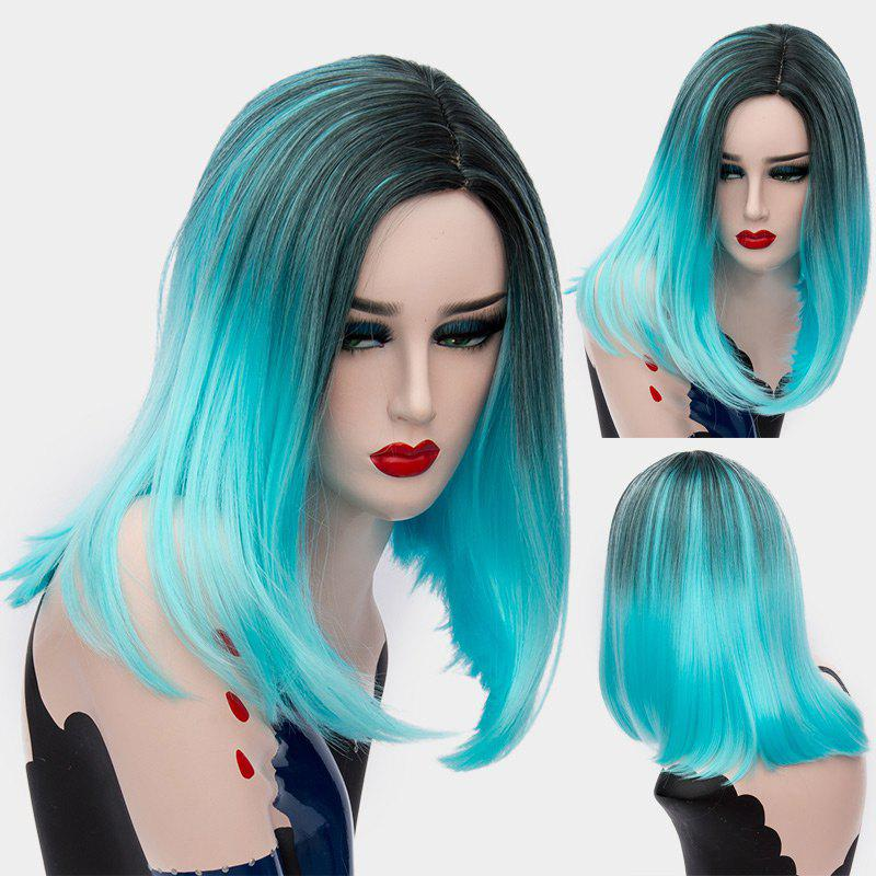 Short Center Part Ombre Straight Synthetic Wig - WINDSOR BLUE