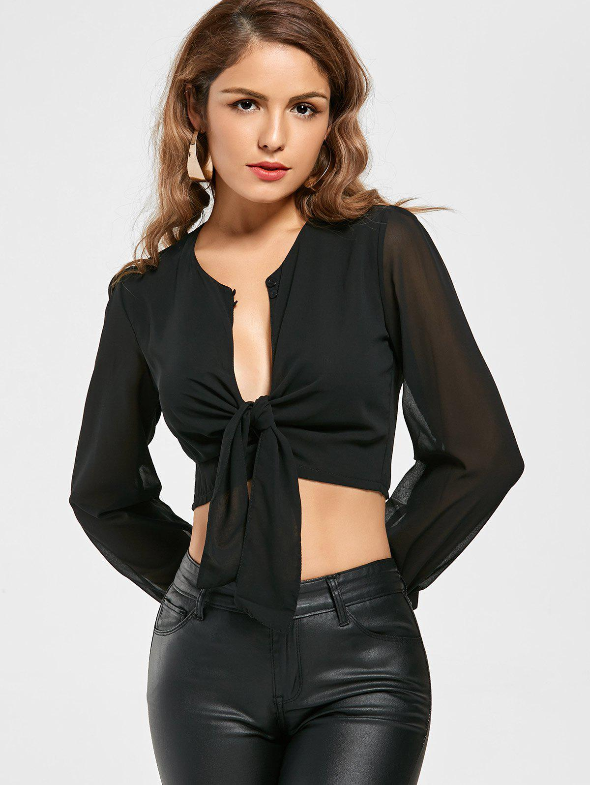 Knotted Chiffon Cropped Long Sleeve Top - BLACK XL
