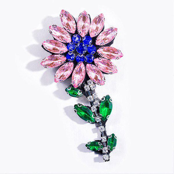 Faux Crystal Flower Broche Sparkly - ROSE PÂLE