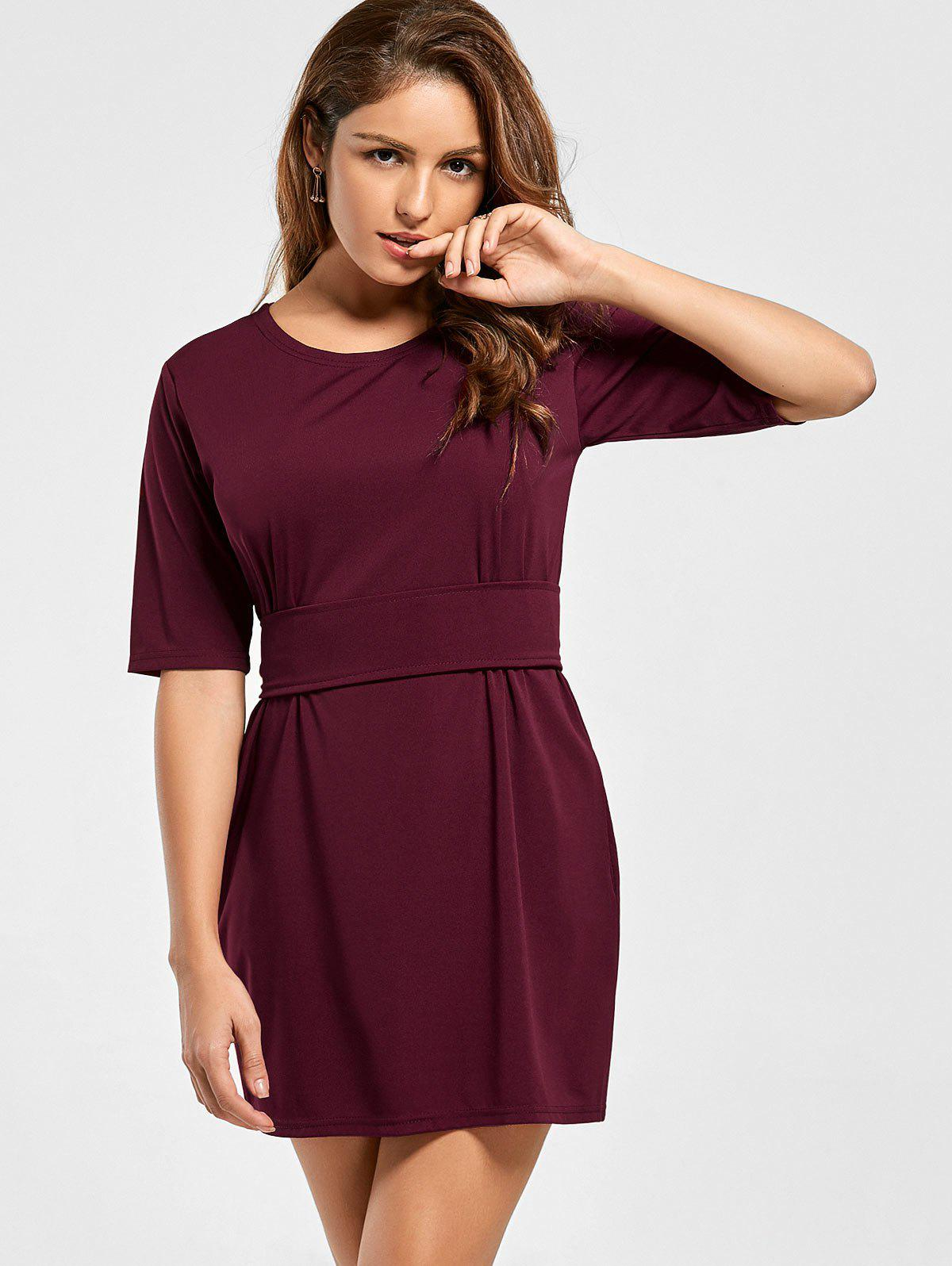 Mini Fitted Dress with Belt - WINE RED M