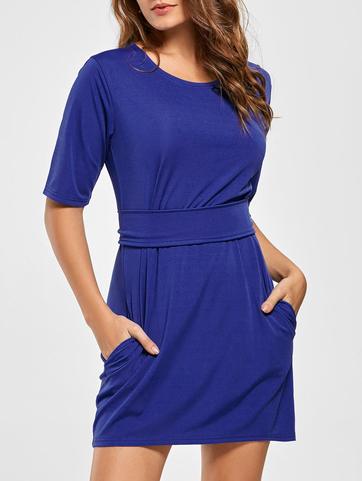 Mini Fitted Dress with Belt - BLUE S
