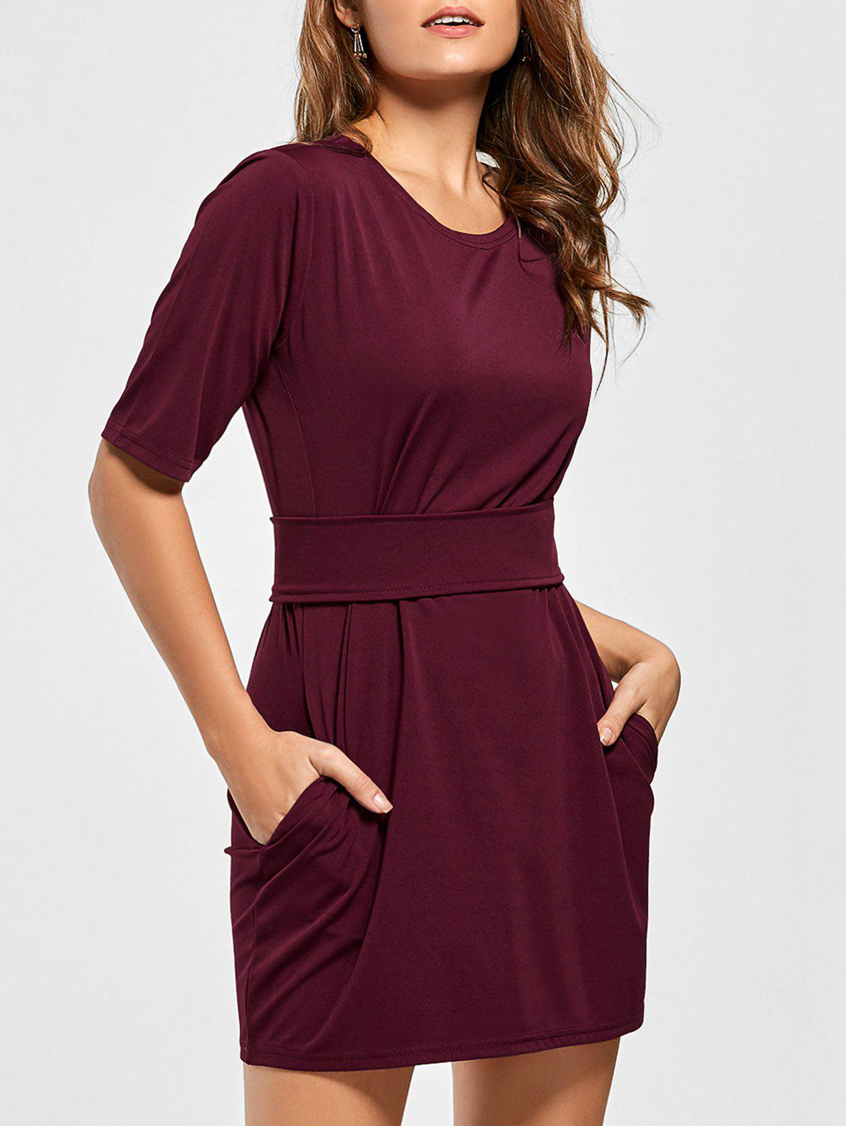 Mini Fitted Dress with Belt - WINE RED XL