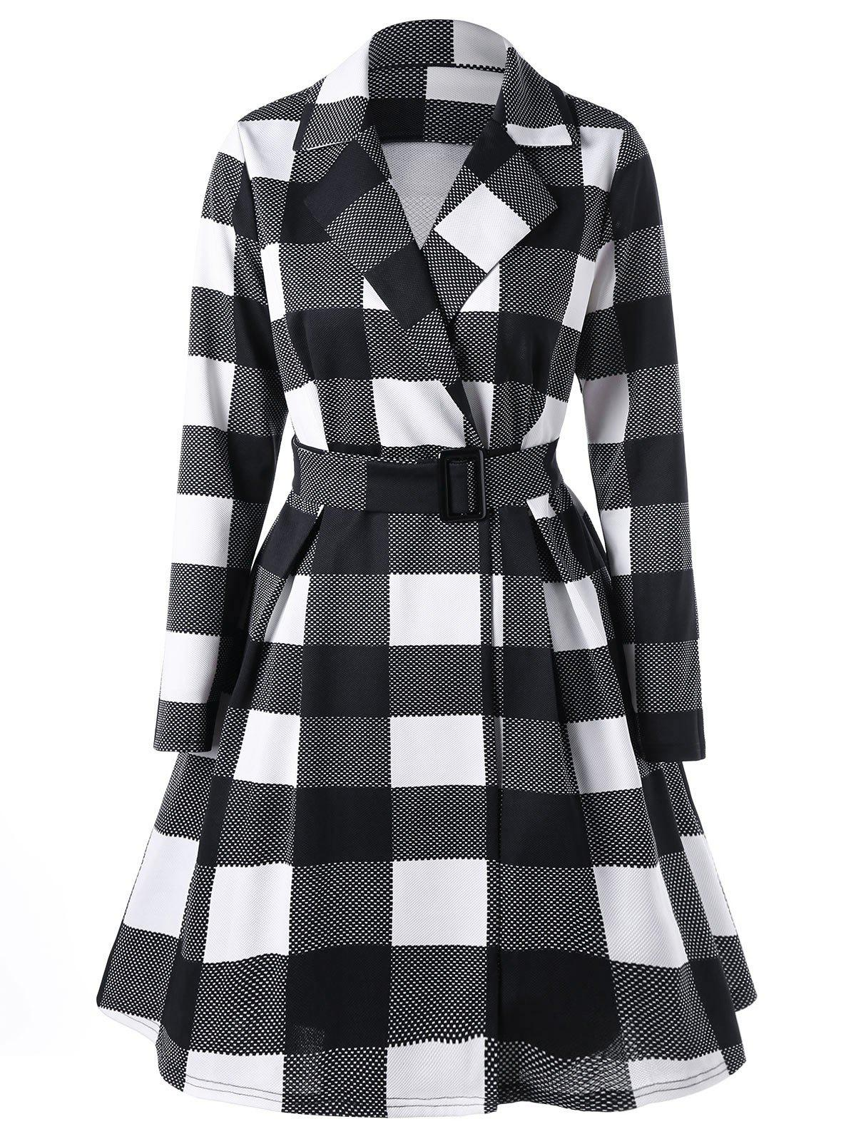 Notched Collar Plaid Skirt Coat - BLACK / WHITE L