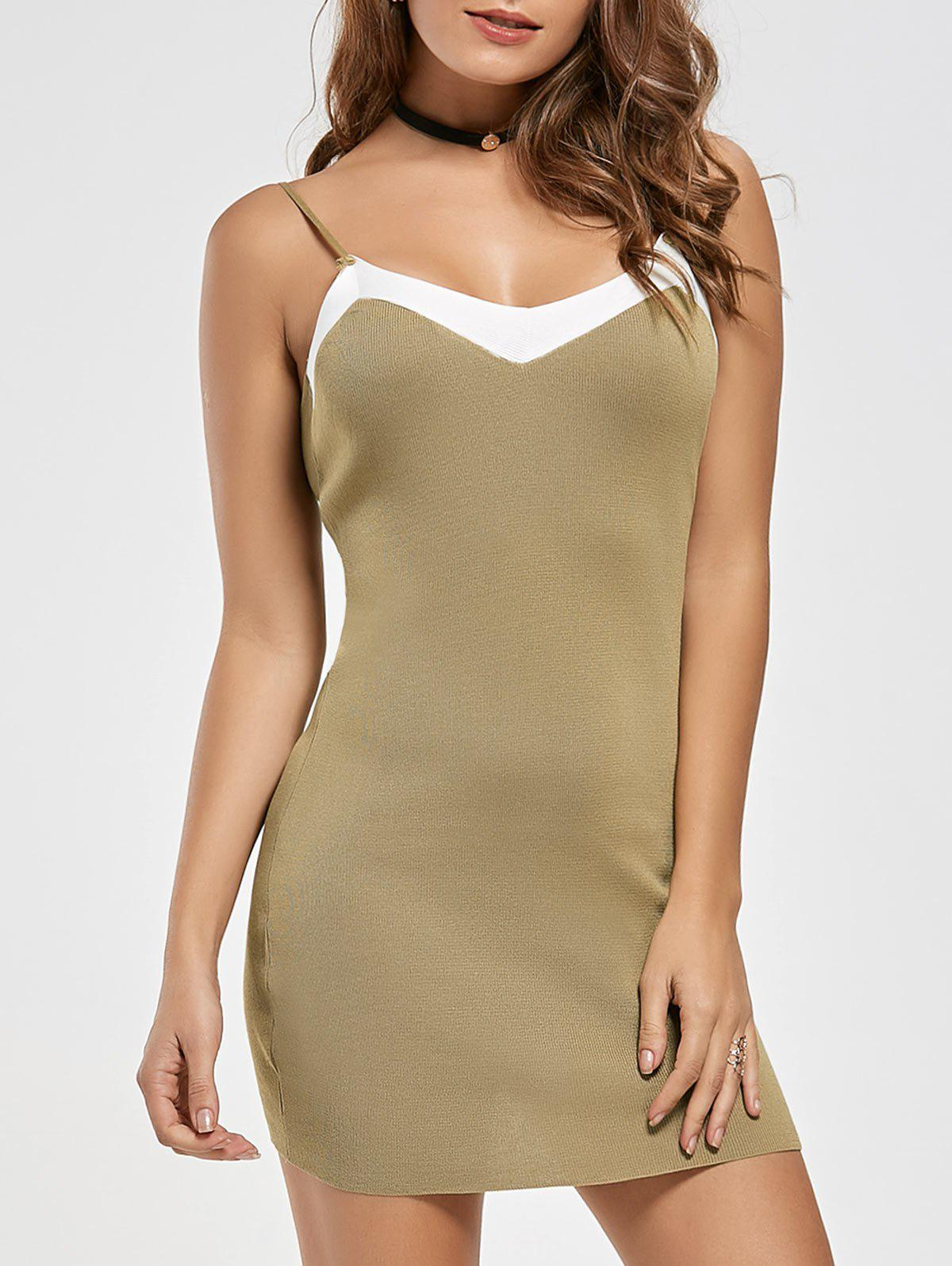 Bodycon Two Tone Knit Slip Dress - KHAKI ONE SIZE