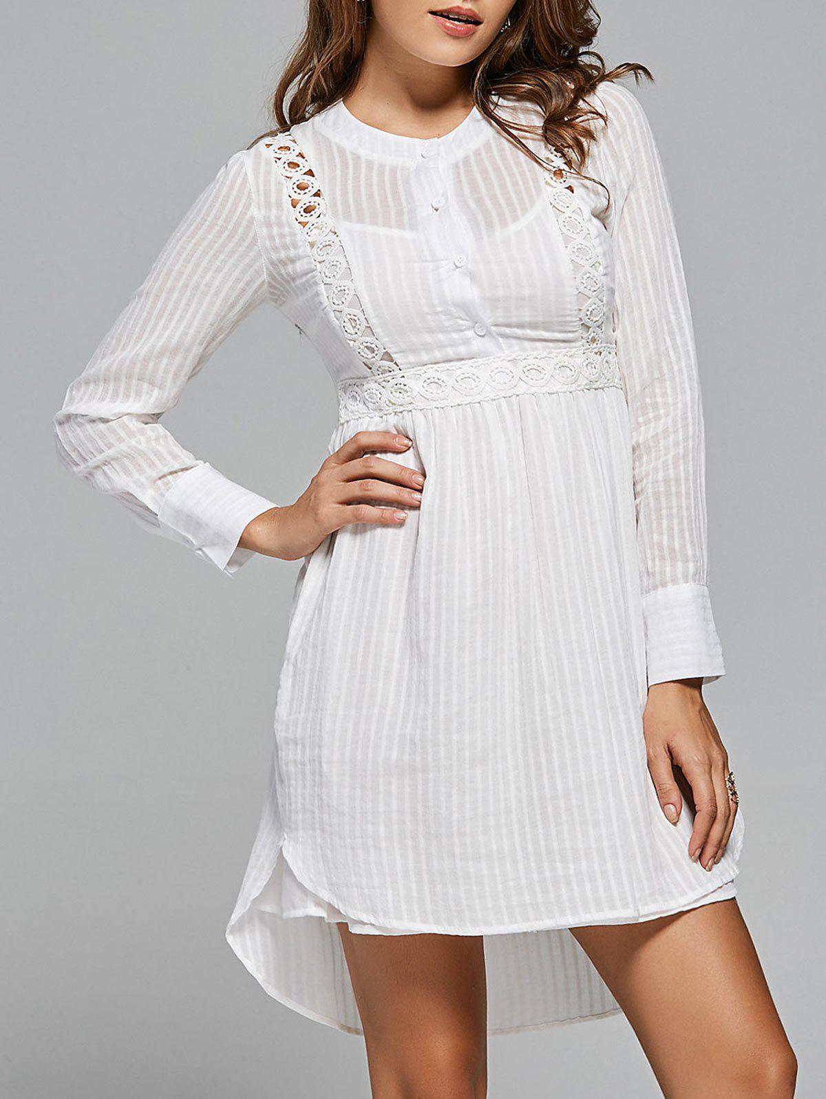 Lace Panel High Low Long Sleeve Dress - WHITE M