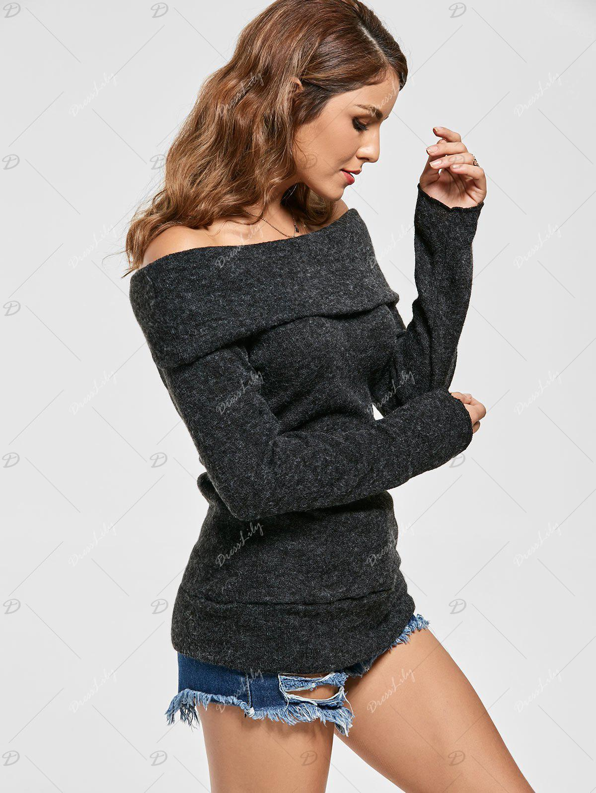 Knitted Off The Shoulder Sweater - BLACK L