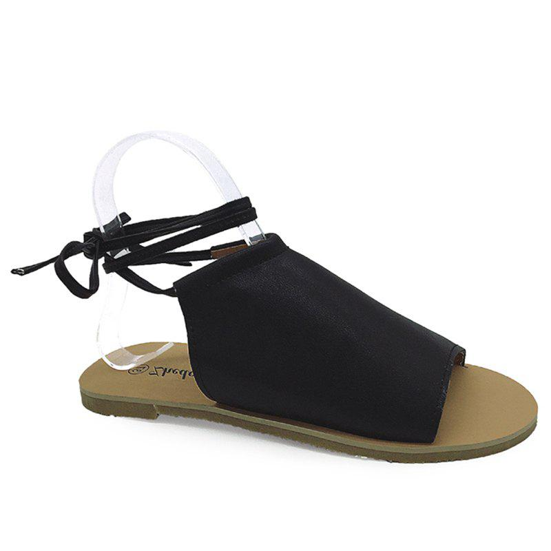 Open Toe Flat Lace Up Sandals - BLACK 38