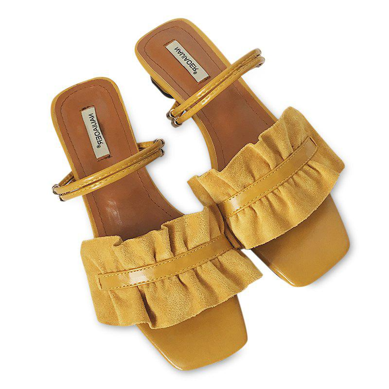 Convertible Square Toe Flounce Sandals - YELLOW 37