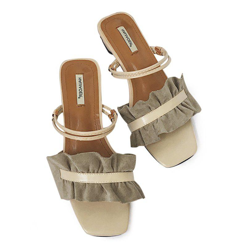 Convertible Square Toe Flounce Sandals - KHAKI 37