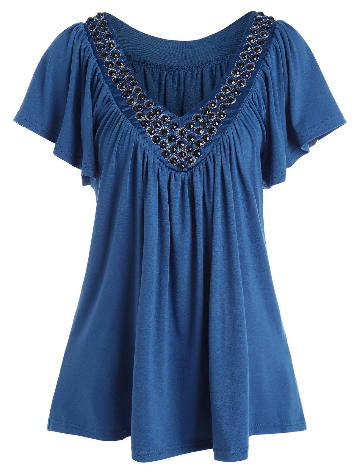 V Neck Beaded Plus Size Top - Bleu canard 3XL